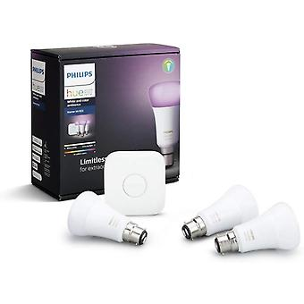 Philips Hue White and Colour Ambiance Starter Kit: Smart Bulb 3x Pack LED [B22 Bayonet Cap] Includes, Bridge (Works with Alexa, Google Assistant and Apple HomeKit) [Energy Class A+]