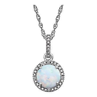 925 Sterling Silver Opal și 0.01 Dwt Diamond colier bijuterii Cadouri pentru femei