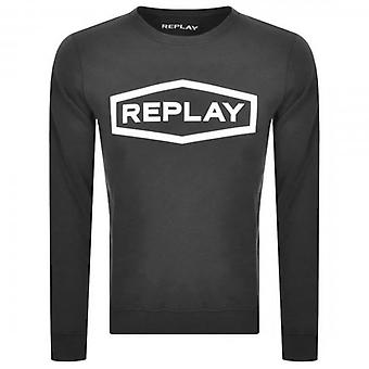 Replay logo Crew Neck pusero musta M3088