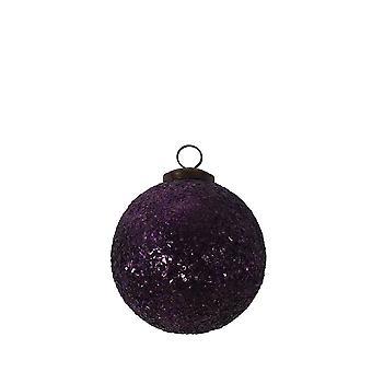Licht & Leben Weihnachten Bauble 10cm glänzendes Glas Licht lila