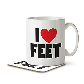 I Love Feet - Mug and Coaster