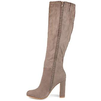 Brinley Co. Womens Knee-high Ruffle Boot Taupe, 8.5 Regular US
