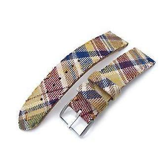 Strapcode fabric watch strap 20mm, 22mm miltat stewart camel tartan pattern watch strap, brown stitching