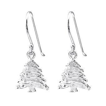 Sterling Silver Christmas Tree Drop Earrings
