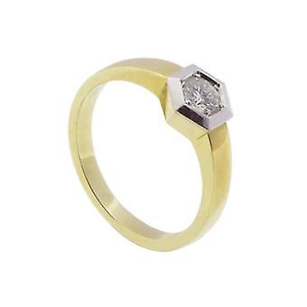 Christian bicolor gouden ring met briljant