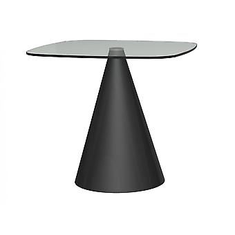 Gillmore Square Clear Glass Dining Table With Conical Black Base