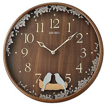 Seiko Swinging Bird Pendulum Wall Clock with Effect Case Brown Model No. QXC237B