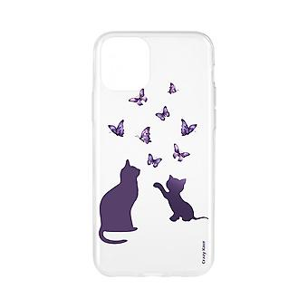 Casco para iPhone 11 Pro Max Soft Kitten jugando con mariposa