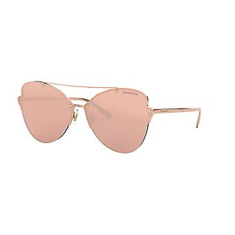 Tiffany TF3063 6105E0 Rubedo/Clear Mirror Real Rose Gold Sunglasses