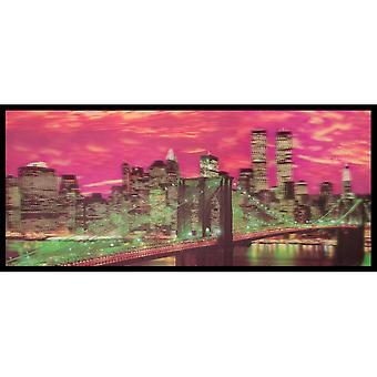 W.A. 3D Wall Art Brooklyn Bridge New York Skyline Framed Lenticular Picture Multi