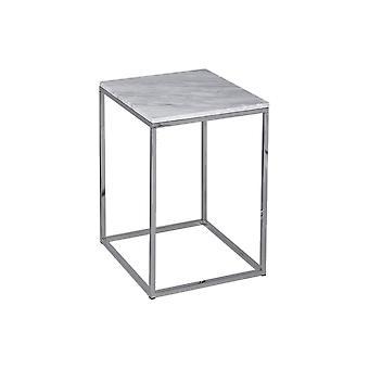 Gillmore Wit Marmer en Zilvermetaal Eigentijdse Vierkante Zijtafel