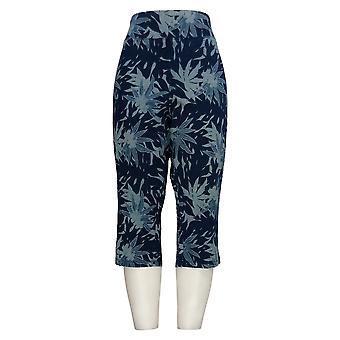 Women with Control Women's Petite Pants Capri Floral Print Navy Blue