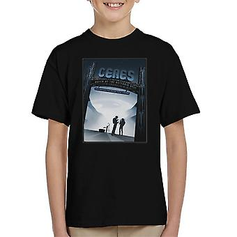 NASA Ceres Interplanetary Travel Poster Kid's T-Shirt
