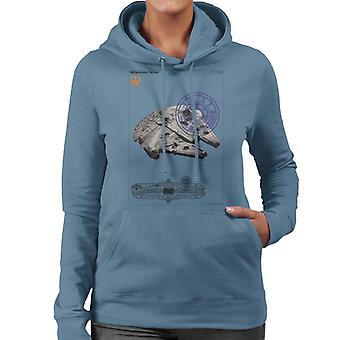 Star Wars Millenniumm Falcon Orthographic Women's Hooded Sweatshirt