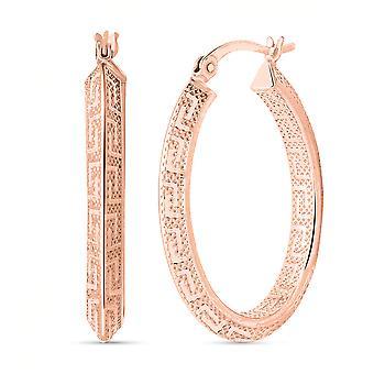 Greek Key Hoop Earrings for Women Sterling Silver Rose Gold Plated TJC