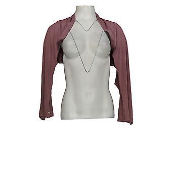 LOGO by Lori Goldstein Women's Top M/L Shrug W/ Button Detail Pink A347659