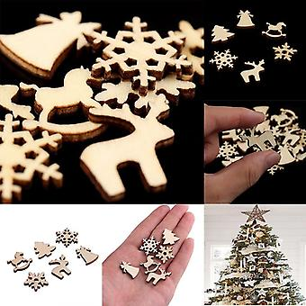 100pcs Christmas Decoration Wooden Snowflake - Christmas Tree Deer Trojan Natural Wooden Diy Christmas Tree Hanging Ornaments