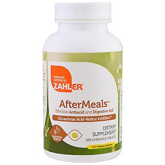 Zahler, AfterMeals, Effectieve Antiacid en Spijsverteringshulp, 100 kauwtabletten