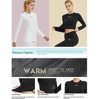 COOLOMG Women's Compression Shirts Crewneck Long, Shirt -White, Size Medium