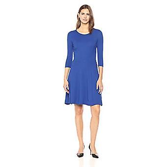 Brand - Lark & Ro Women's Three Quarter Sleeve Knit Fit and Flare Dress, Cobalt, Medium