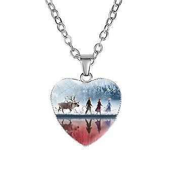 Disney Frozen 2 Love Necklace Children's Cartoon- Elsa Princess Anna Heart Shaped Pendant Girl Gifts