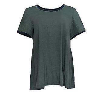 LOGO by Lori Goldstein Women's Top Knit Top w/Contrast Detail Green A307242