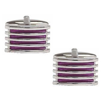 Purple 4-Rib Enamel Cufflinks