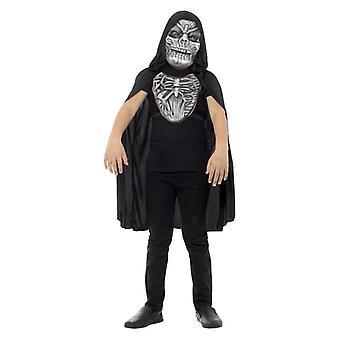 Meninos Halloween Grim Reaper Fancy Dress Kit: Máscara e Peça do Peito