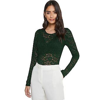 JDY Women Shirt Elegant Long Puff Sleeve Lace Top ONLY Round Neck Sexy
