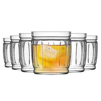 LAV Fiona Jam Jar Whisky Tumbler Glasses - 415ml - Pack of 6 Rocks Glasses / Whiskey Glasses