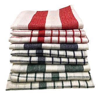 9 pièces serviette de cuisine ensemble rayé vintage et coton à poche - Blanc