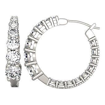 14K wit goud Moissanite door Charles & Colvard 5mm ronde Hoop Earrings, 3.90cttw DEW
