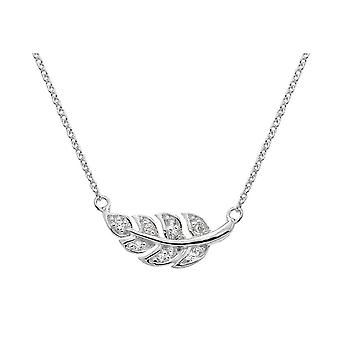 Dew Sterling Silver Pave Leaf 18 Necklace 9513CZ018