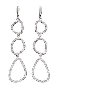 Elementer sølv Zirkoner Pebble skitse dråbe øreringe E5820C