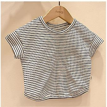 Summer Casual Baby Girls Boys T Shirt Cotton Tops Short Sleeve Striped Tee