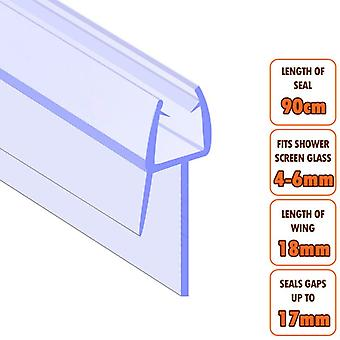 ECOSPA Bath Shower Screen Door Seal Strip - for 4-6mm Glass - Seals Gaps to 17mm