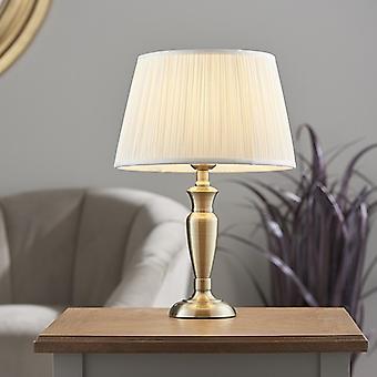 Endon Beleuchtung Oslo & Freya - Tischlampe antik Messing Platte & Vintage weiße Seide 1 Licht IP20 - E27