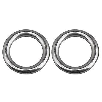 2 Pieces 6x25mm Silver 304 Stainless Steel Yoga Ring Solid Capacity Ring