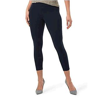 HUE Women's Wide Waistband Blackout Cotton Capri Leggings, Assorted, Navy, L
