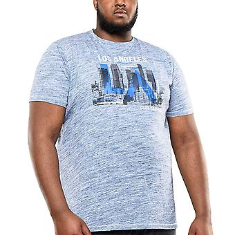 Duke D555 Mens Big Tall King Size Hobart LA Print Crew Neck T-Shirt - Blue Reno