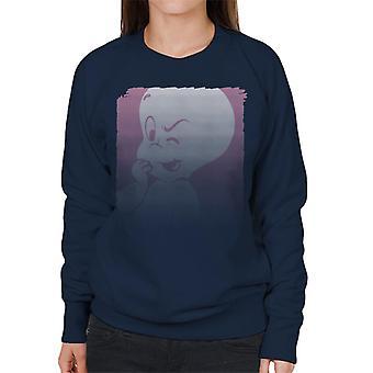 Casper The Friendly Ghost Winking Fade Women's Sweatshirt