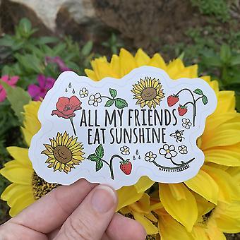 Alla mina vänner äter Sunshine Die Cut Klistermärke