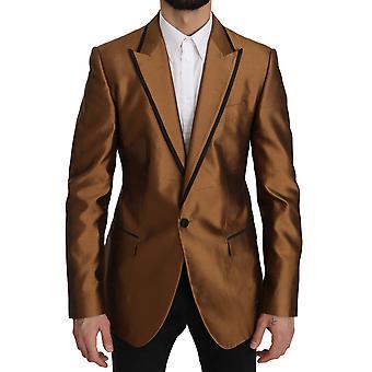 Brown silk martini jacket coat blazer