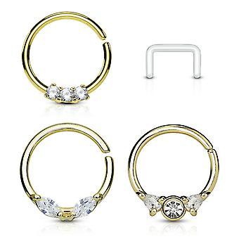 4 Embalar círculo de septo de nariz flexível e aros de cartilagem de ouvido livre retentor claro bj90167