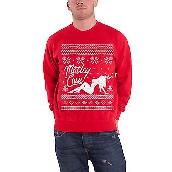 Motley Crue Holidays logo Official Mens Red christmas Sweatshirt