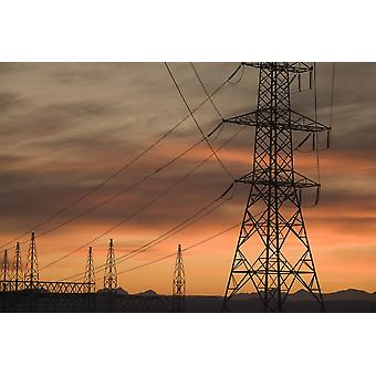 Calgary Alberta Canada Electricity Towers And Wires At Sunset PosterPrint