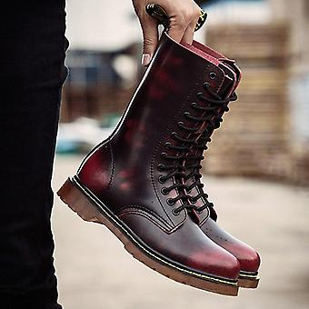 Bottes de moto populaires Hommes Hiver High-top Combat Leather Casual Luxury