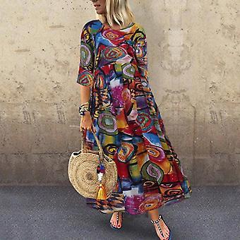 Ženy letní letní šaty tištěné šaty módní ležérní dlouhé maxi
