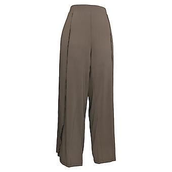 H Por Halston Mujeres's Petite Pantalones Pull-On Fly-Away Wide Leg Brown A306925