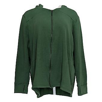 Cuddl Duds Women's Teddy Pluche Full Zip Hooded Sweatshirt Green A381717